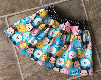 Tsum Tsum Birthday, Tsum Tsum Skirt, Tsum Tsum Party Dress, Baby Tsum Tsum Skirt, Girls Tsum Tsum Skirt, Disney Tsum Tsum Skirt, Handmade