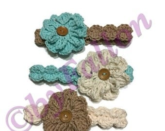 Crochet baby headband with interchangeable flower