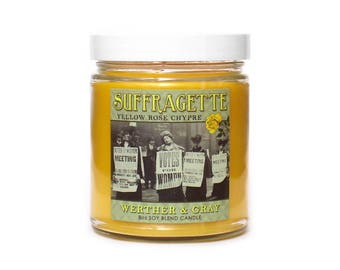 SUFFRAGETTE, Scented Candle, Social History, Women's Rights, Civil Rights, Yellow Rose Scent, Chypre Fragrance, History Gift, Voting Rights