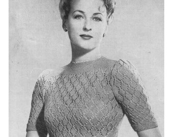 ALMOST FREE Instant PDF Download Vintage Knitting Pattern to make a Ladies Woman's Short Sleeve Lacy Sweater with Moss Stitch Yoke in 3 ply