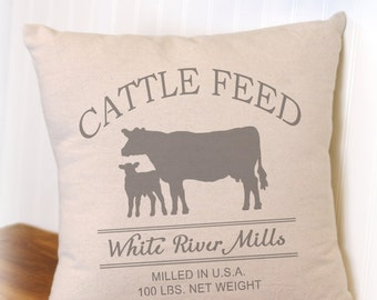 Cattle Feed Sack Pillow Cover