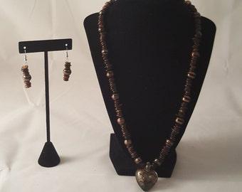Brown Sea Shell & Heart Pendant Necklace - Heart Pendant Necklace - Heart Necklace - Brown Necklace - Gold Heart Necklace - Gold Heart