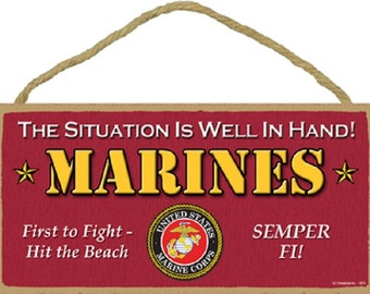 """Military - Marines 5"""" x 10""""  Wood Plaque Wood Sign Wall Decor Home Decor"""
