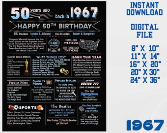 50th birthday chalkboard, 1967 USA facts, chalk blackboard party decoration happy 50th birthday sign turning 50 Digital INSTANT DOWNLOAD 3d1