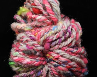 Fireworks - Handspun 3Ply Yarn - merino silk stellina - Art Yarn - Super Bulky