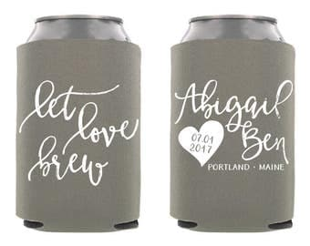 Let Love Brew Can Cooler, Personalized Wedding Can Cooler, Custom Wedding Can Cooler, Let Love Brew Wedding Can Cooler, Wedding Favors
