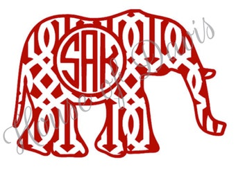 Lattice Elephant Circle Vinyl Monogram Decal
