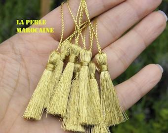 4 TASSEL gold plated handmade + -11 CM acrylic bead tassel