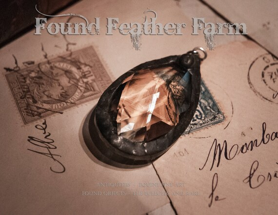 Large Handmade Pewter Soldered Honey Toned Vintage Crystal