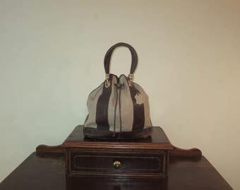 Valentina All Weather Pebbled Leather Drawstring Bucket Bag in Brown & Beige With Gold Tone Hardware- Made In Italy- EUC