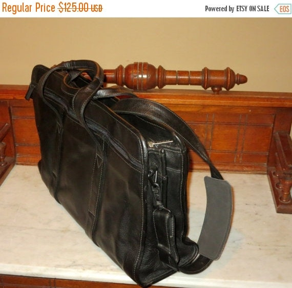 Football Days Sale Vintage Korchmar Double Gusset Black Glove Leather Briefcase Attache Laptop Ipad Carrier With Side Pockets- EUC