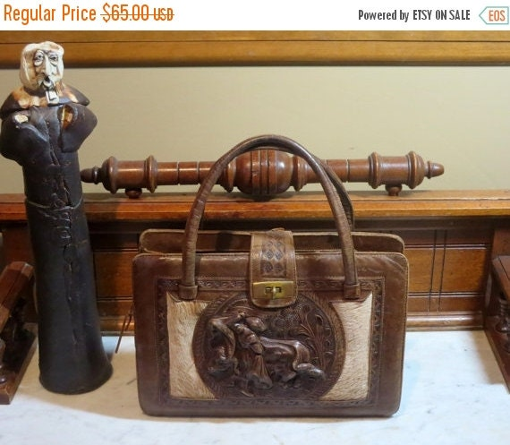 Football Days Sale Tooled Leather And Horsehair Multi-pocket Bag With Bullfighting Relief- VGC