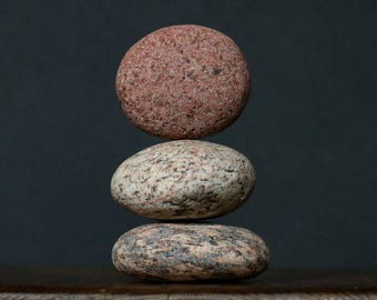 Zen Garden Sculpture - Natural Beach Stone Stack - Large Smooth Sea Stones - Art Therapy - Rock Balancing