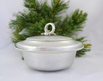 Vintage Hammered Aluminum Buenilum Covered Bowl