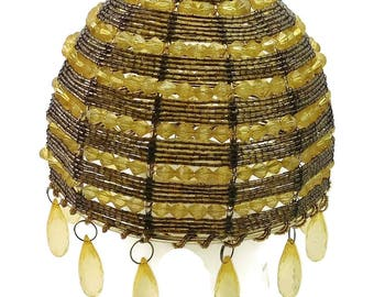 Small Amber Gold Seed Bead Beaded Vintage Lamp Shade