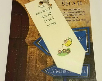 Tea and Books are All I need in Life Jeweled Bookmark / laminated bookmark / traditional bookmark / sale