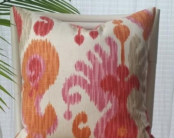 Braemore Ikat Global Pink Orange Pillow Cover - fuchsia, raspberry, pink, coral, orange, melon, tangerine, ivory, taupe