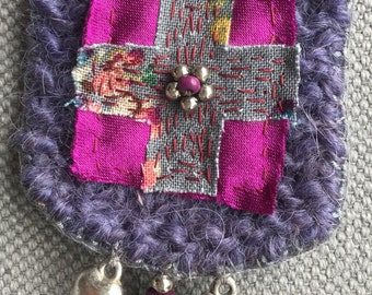 Textile brooch, carries happiness, dark purple and purple, elegance and poetry.