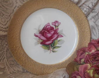 Saji Roses Display Plate - Vintage 60s Japanese Fine China