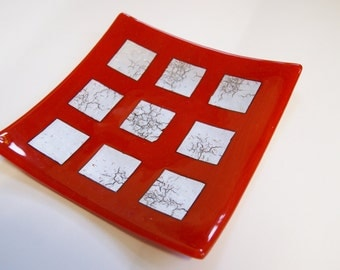 Red fused glass  plate with silver inclusion