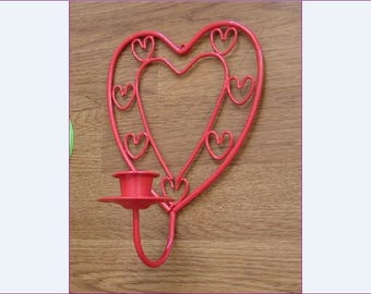 RED HEART Sconce, Metal Candlestick Holder, Wall Décor, Upcycled Vintage Candle Holder, Lighting, Red Metal, Sconces, Hearts, Candle Light