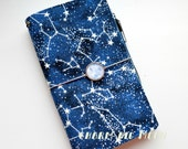 IN stock - Fabric Cover Fauxdori - Constellations glow in the dark, Travelers Notebook