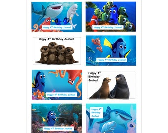 8 PERSONALIZED PRINTED Finding Dory Stickers, Birthday party favors, labels, rewards, custom