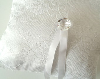 White lace ring bearer pillow, white ring pillow, ring bearer pillow, lace ring bearer pillow