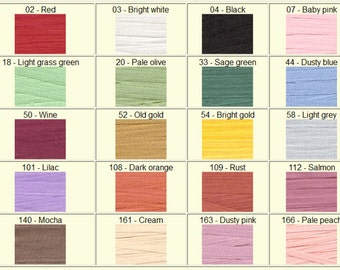 Silk Ribbon - 100% pure silk - 7mm - 5m or 10m - loads of colours. Embroidery, Crafts, Miniatures.