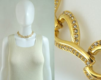 70s rhinestone choker necklace, 1970s gold metal chain link collar necklace, vintage necklace, costume jewelry, jewellery