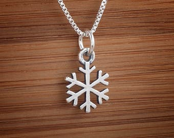 Snowflake Snow Charm or Earrings -STERLING SILVER- Chain Optional
