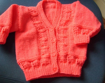 Hand-knitted Girl's Cardigan - Coral