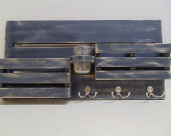Entry Way Organizer - Magazine Holder - Distressed Wood - Mail and Key Holder