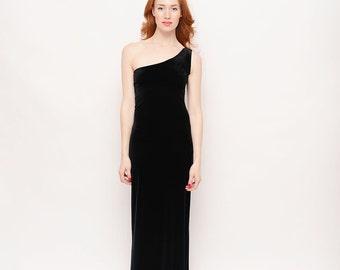Floor Length 90s Black Velvet Gown - Vintage, One Shoulder, Body Con, Prom, Ball, Formal