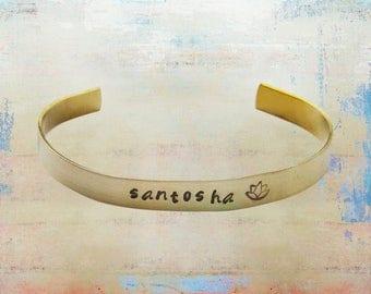 """Santosha Lotus Cuff Bracelet Hand Stamped Mantra Yoga Jewelry 1/4"""" brass …"""