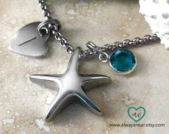 Starfish cremation necklace // Beach ashes pendant // memorial jewelry // Memorial beach necklace // Beach lover cremation urn