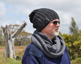 Grey scarf, Two toned infinity scarf, Knit scarf, Merino cowl, Boyfriend gift. Knit scarf, Handmade grey scarf, winter scarf