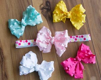 Hair Bows with Headband Set, Pink Yellow Aqua Dot Headband/ Ruffle Bow Gift Set, Pink Lemonade Dot Headband, Girls Matching Hair Bow Set