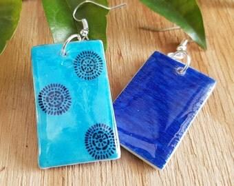 30% OFF - Hand drawn blue rectangle dangle earrings (wearable art, statement earrings, decoupage, resin)