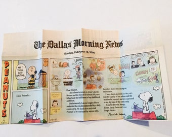 Last Peanuts Comic Strip Newspaper Clipping by Charles Schulz 2/13/2000 The Dallas Morning News paper Snoopy Charlie Brown