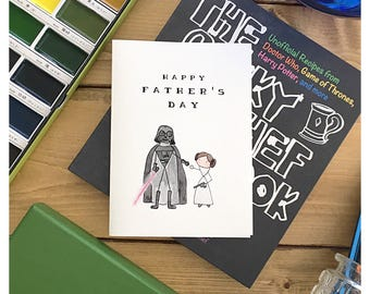Starwars Father's Day Card // star wars card, darth vader, princess leia, funny card, father's day card, for dad, greeting card, starwars