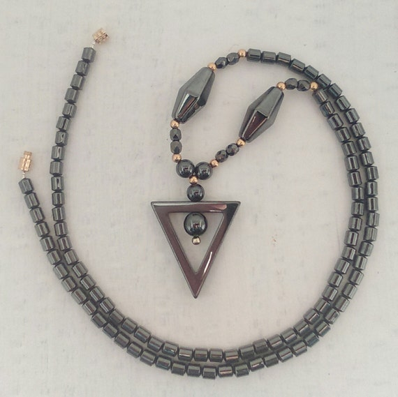 Hematite Triangle Pendent with Hematite Drum Beaded 12 Inch Necklace for Men or Women