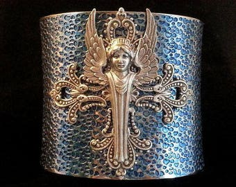 Angel Cuff | Blue Angel Cuff | Angel Jewelry | Religious Bracelet | Winged Angel | Winged Angel | Neo Victorian | Angel Bracelet