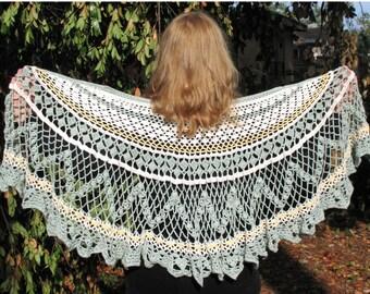 Spring and Sunshine Victorian Edwardian Romantic Crochet Shawl Wrap