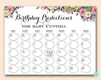 Baby Prediction Calendar, baby prediction calendar, baby due date calendar, guess the due date, due date calendar, due date sign TLC140
