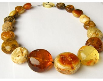 MEGA Amber Necklace,genuine baltic amberstone,  multicolour, polished, modern, new fashion, gift for she, giftbox, Unique, Amberballs, NEW