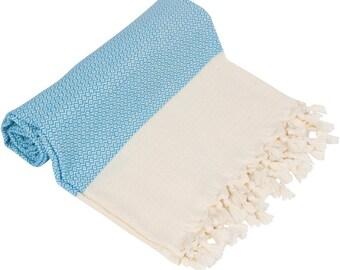 "BIG SALE 60% - TURQUISE Blue Peshtemal-100x180 cm / 40""x71"" - Spa Towel Turkish Towel Beach Towel Bath Towel"