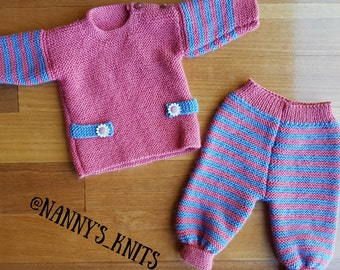 Knitted Baby Sweater and Pants Set