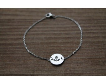 Anchor hand stamped bracelet