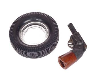 Vintage Pistol Pipe - Revolver Tobacco Smoking Pipe - C.P.F. - Revolver Pipe and FiRESTONE Deluxe Tire Ashtray -  Collectible Tobacco Items